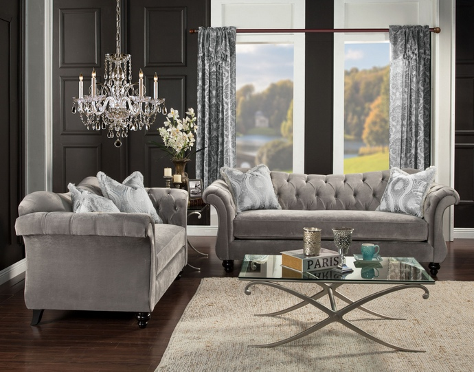 Impressive Couch And Loveseat Set 2 Pc Antoinette Collection