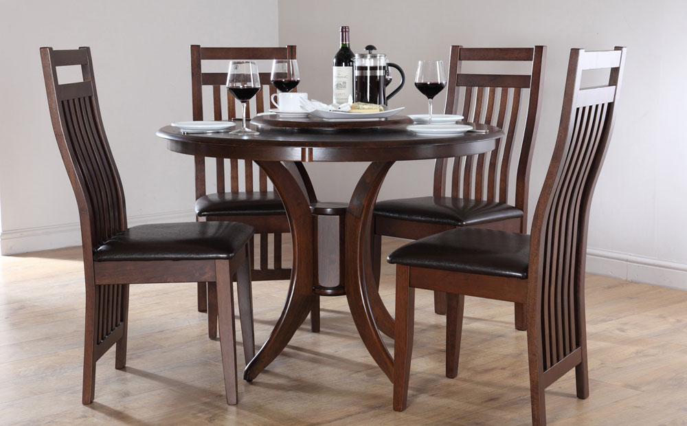 Impressive Dark Wood Round Table Lovable Wood Dining Room Table Sets Contemporary Round Kitchen