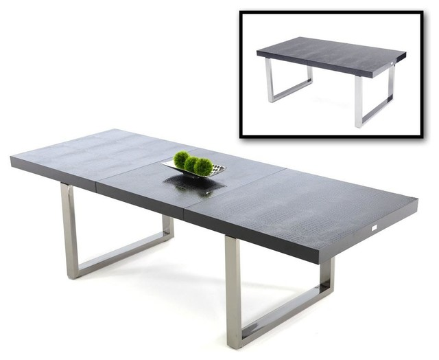 Impressive Dining Table Extendable Modern Skyline Black Crocodile Textured Lacquer Extendable Dining Table