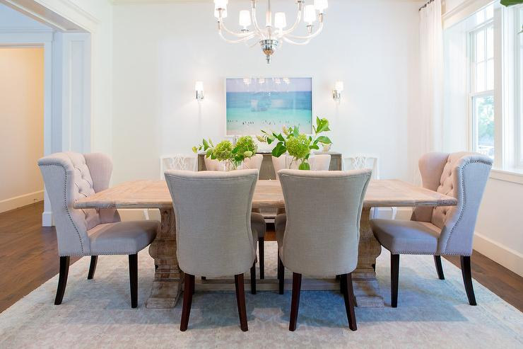 Impressive Elegant Dining Chairs Reclaimed Wood Trestle Dining Table With Beige Tufted Nailhead