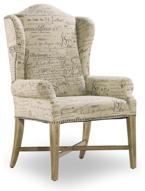Impressive Fabric Dining Chairs With Arms Wing Back Dining Arm Chair Parchment Document Fabric Contemporary