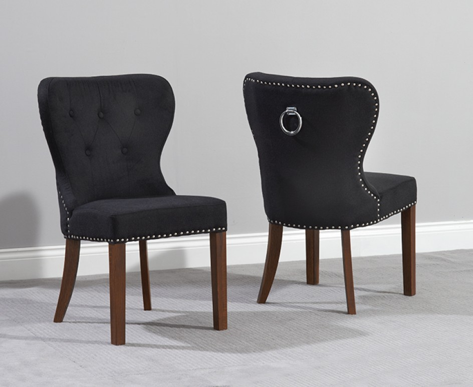 Impressive Fabric Dining Chairs With Black Legs Knightsbridge Studded Black Fabric Dark Oak Leg Dining Chairs