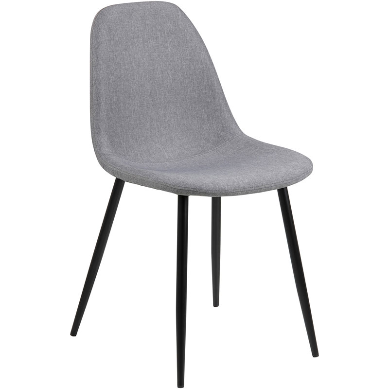 Impressive Fabric Dining Chairs With Black Legs Wilma Chair Lgry Blk Angle