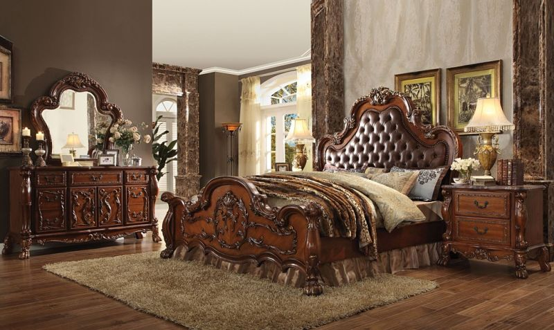 Impressive Fabric Headboard Bedroom Sets Von Furniture Dresden Bedroom Set In Cherry With Upholstered