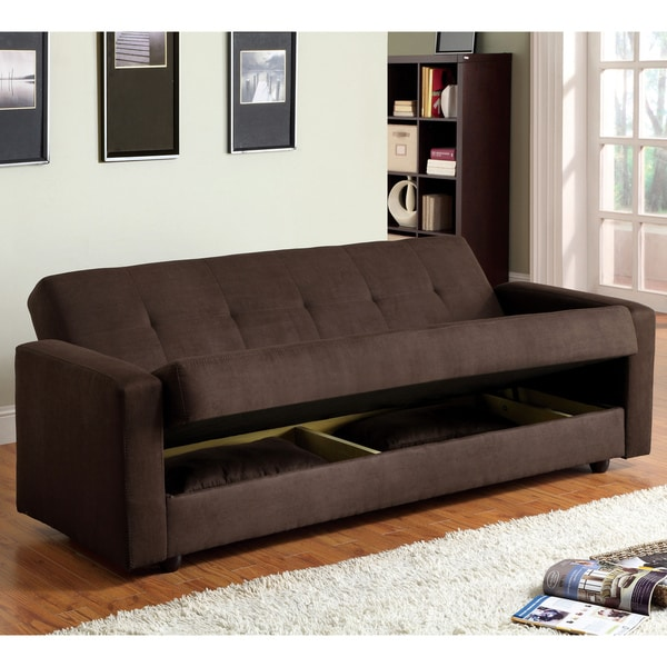 Impressive Futon Bed With Storage Furniture Of America Cozy Microfiber Futon Sofa Bed With Storage