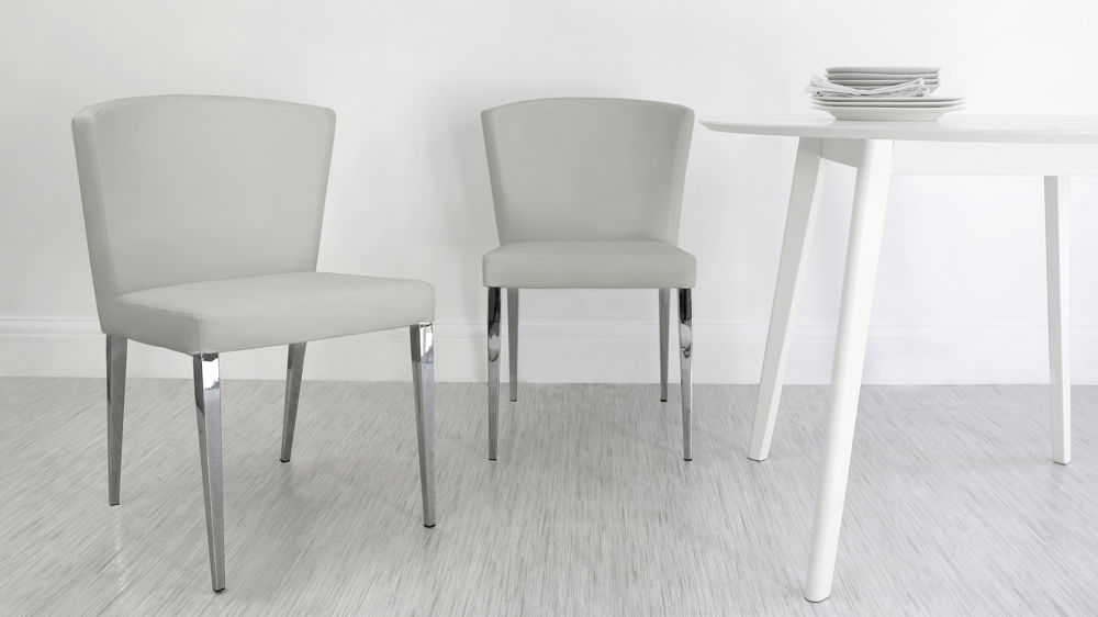 Impressive Grey Dining Chairs With White Legs Curved Back Dining Chair Chrome Tapered Legs Black Or White