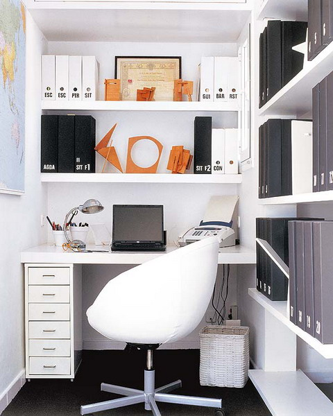 Impressive Home Office Desk With Shelves Bookshelves White Themed Modern Thoughtful Home Office Storage
