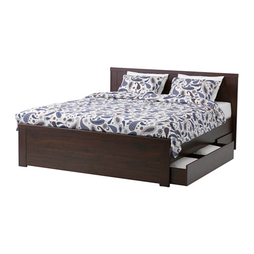 Impressive Ikea Double Bed With Storage Drawers Brusali Bed Frame With 4 Storage Boxes Queen Lury Ikea