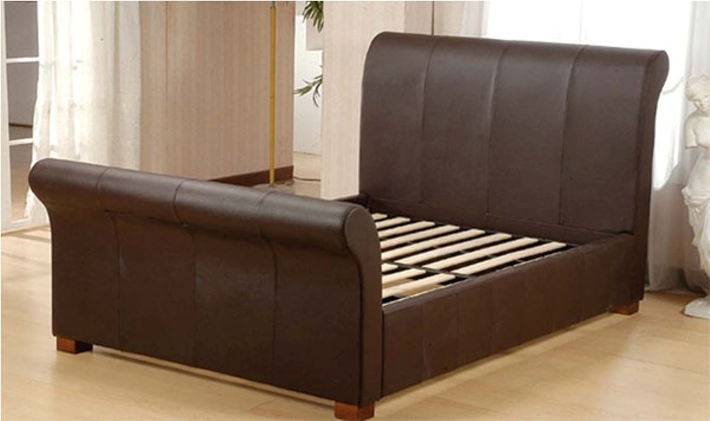 Impressive King Size Sleigh Bed Frame Leather Sleigh Bed King On King Size Bed Frames Unique King Bed