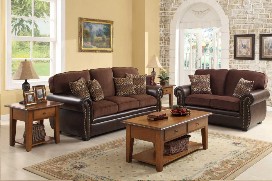 Impressive Leather And Fabric Living Room Sets Living Room Contemporary Chocolate Brown Living Room Sets With