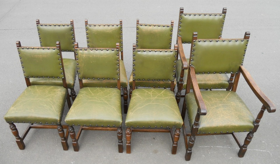 Impressive Leather Covered Dining Chairs Of Eight Cromwellian Style Leather Covered Dining Chairs