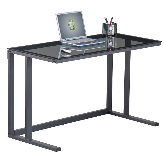 Impressive Metal Computer Desk Aswan Glass Computer Desk In Smoked With Black Metal Frame