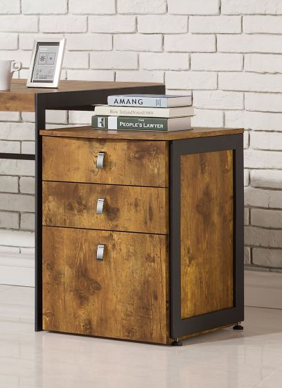 Impressive Metal Filing Cabinet Coaster 800656 Estrella Antique Nutmeg Wood Metal File Cabinet
