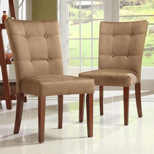 Impressive Microfiber Dining Chairs Button Tufted Peat Microfiber Dining Chairs Set Of 2 Inspire