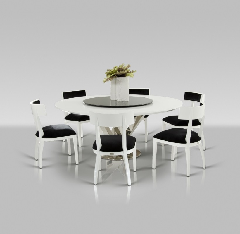 Impressive Modern Round White Dining Table Ax Spiral Modern Round White Dining Table With Lazy Susan