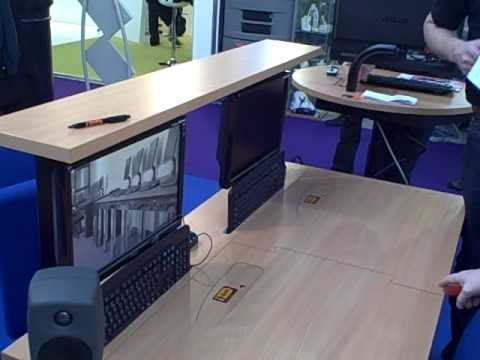 Impressive Monitor In Desk Goode Monitor And Keyboard I Desk Youtube