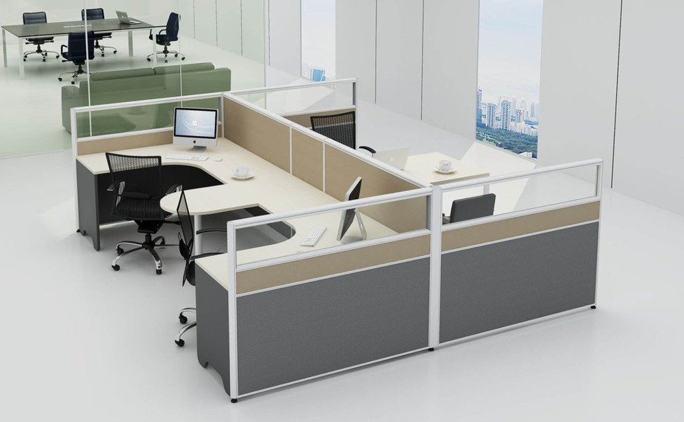 Impressive Office Work Table Mdf White Color Table 4 Clusters Office Work Station Fashion