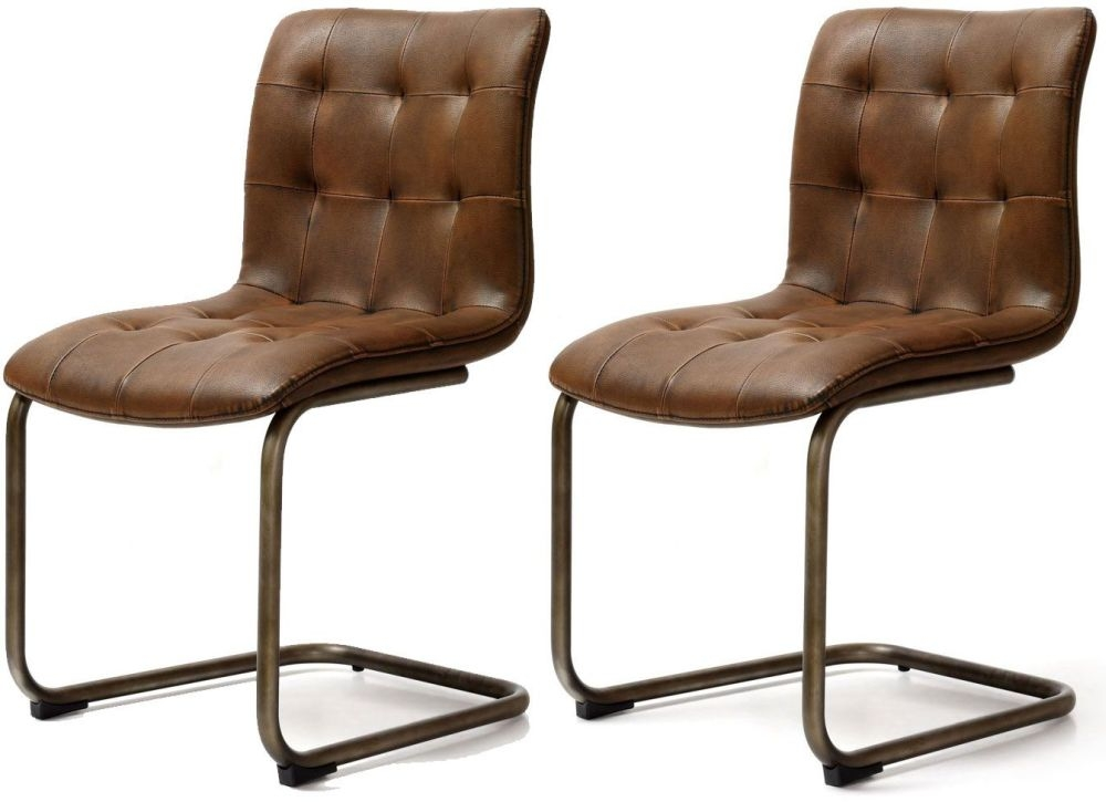 Impressive Pair Of Dining Chairs Buy Industrial Faux Leather Button Back Dining Chair Pair Online
