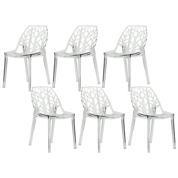 Impressive Plastic Dining Chairs Leisuremod Modern Flora Clear Cut Out Transparent Plastic Dining