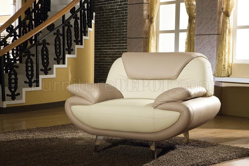 Impressive Set Of Two Living Room Chairs Light Brown Beige Two Tone Leather 3pc Living Room Set 2812