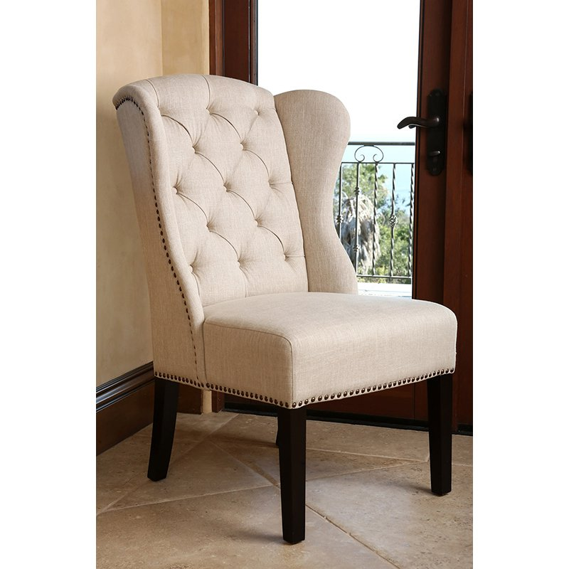 Impressive Tufted Dining Chair Abson Kyrra Tufted Linen Wingback Dining Chair Cream Hayneedle