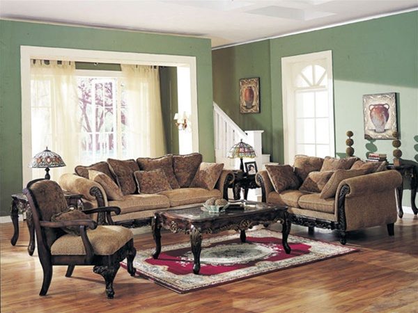Impressive Two Piece Sofa Set Bordeaux Two Piece Sofa Set In Sage Floral Chenille Fabric Cover