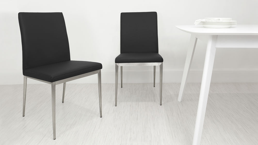 Impressive Upholstered Dining Chairs With Black Legs Modern Dining Chair Brushed Metal Legs Uk Delivery