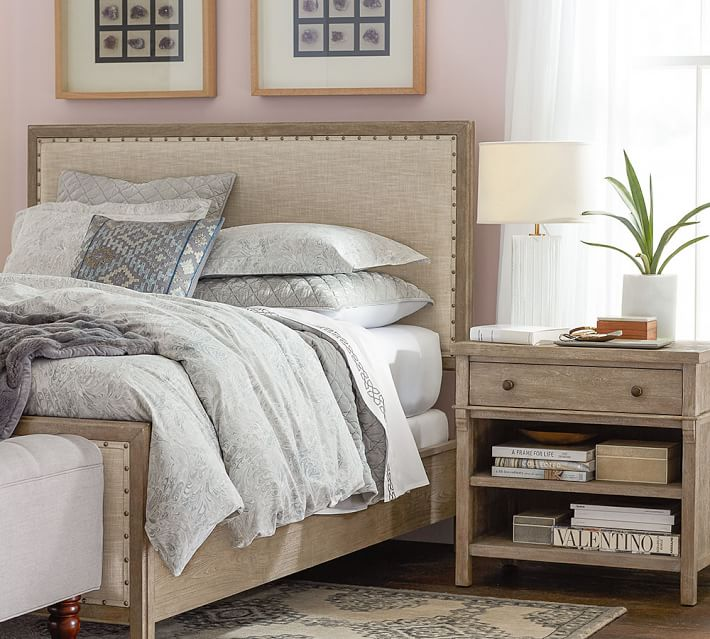 Impressive Upholstered Wood Bed Frame Toulouse Wood Bed Pottery Barn