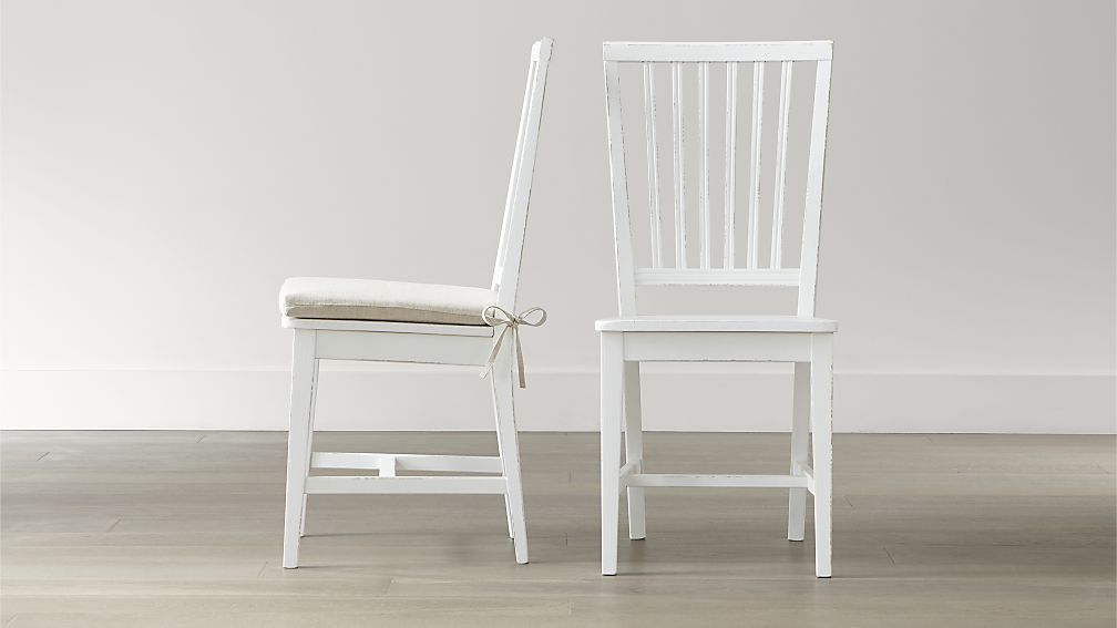 Impressive White Dining Chairs Village White Wood Dining Chair And Natural Cushion Crate And Barrel