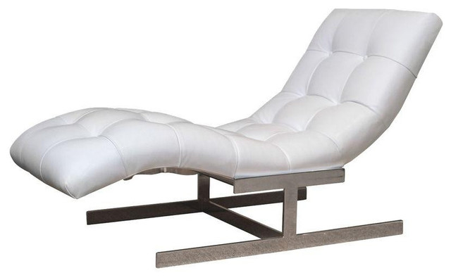 Impressive White Leather Chaise Lounge Milo Baughman White Leather Chaise Lounge
