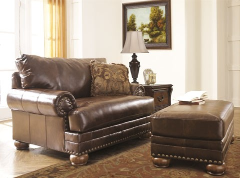 Incredible Ashley Brown Leather Couch Ashley Brown Leather Durablend Antique 2pc Sofa Package Ashley