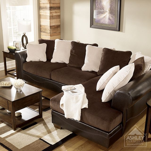 Incredible Ashley Corduroy Sectional Sofa Ashley Furniture Homestore Victory Chocolate Sectional