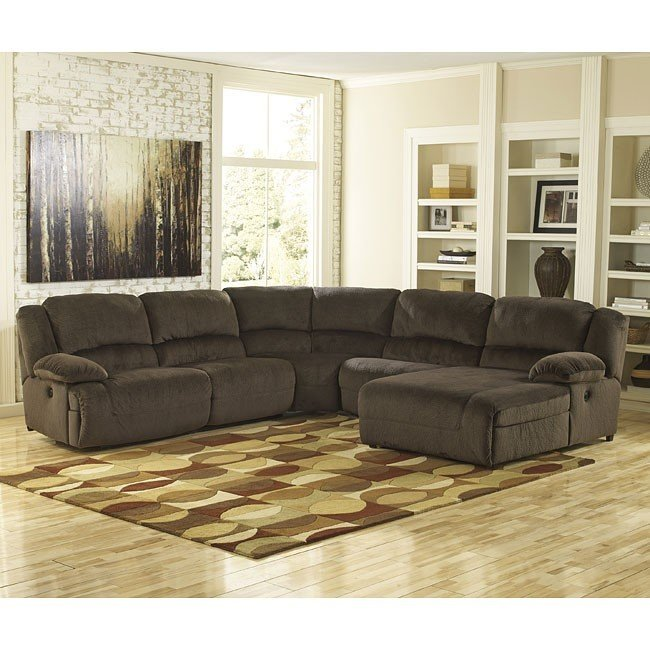 Incredible Ashley Furniture Brown Sectional Toletta Chocolate Reclining Sectional Signature Design Ashley