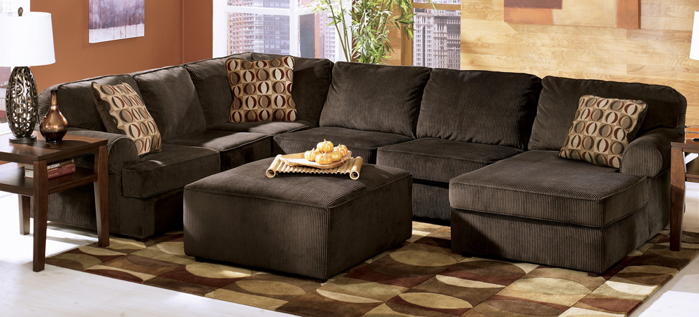 Incredible Ashley Furniture L Couch Vista Chocolate Large Sectional Ashley Furniture Tenpenny