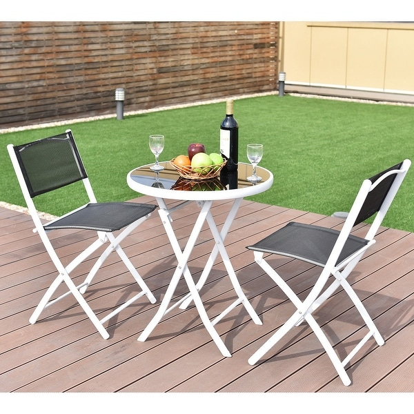 Incredible Black Dining Table And Chairs Set Shop Costway 3 Pcs Folding Bistro Table Chairs Set Garden Backyard
