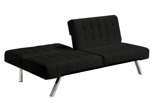 Incredible Black Leather Futon Couch Dhp Emily Futon Sofa Bed Modern Convertible Couch With Chrome Legs