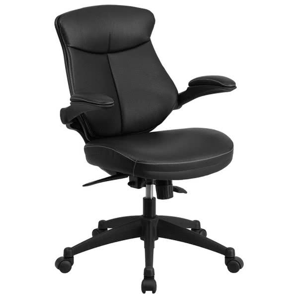 Incredible Black Leather Office Chair Furniture Bl Zp 804 Gg Mid Back Black Leather Office Chair Task
