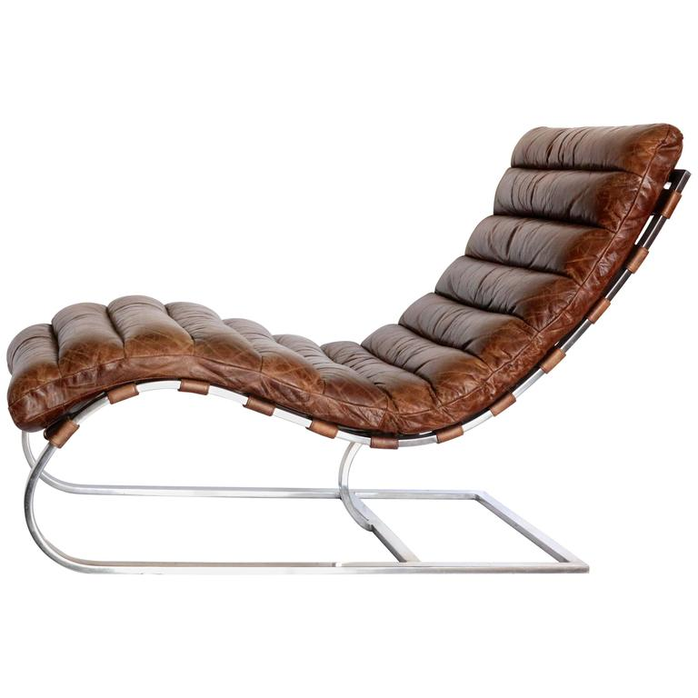 Incredible Brown Leather Chaise Longue French Distressed Tufted Leather Chaise Longue Chair With Chrome
