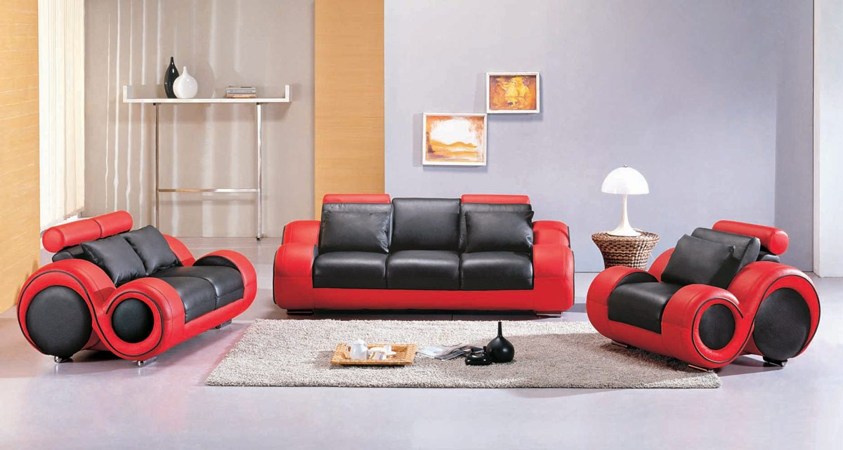 Incredible Contemporary Black Leather Sofa 4088 Contemporary Black And Red Sofa Set