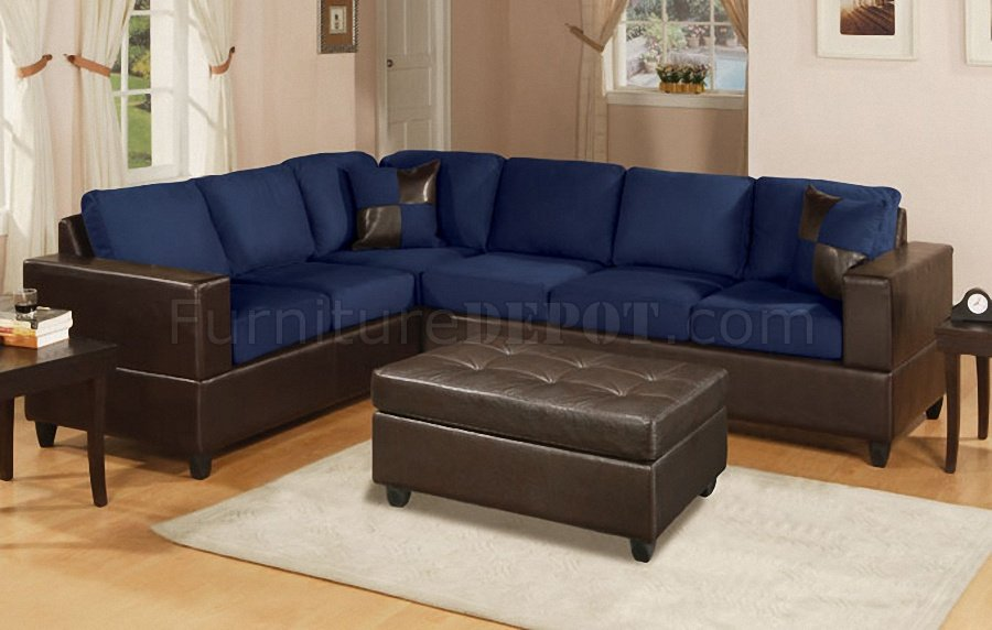 Incredible Contemporary Navy Blue Sectional Sofa Navy Microfiber Contemporary Sectional Sofa Wfaux Leather Base