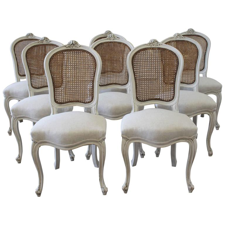 Incredible French Dining Chairs Set Of Eight Vintage French Painted Cane Back Dining Chairs At 1stdibs