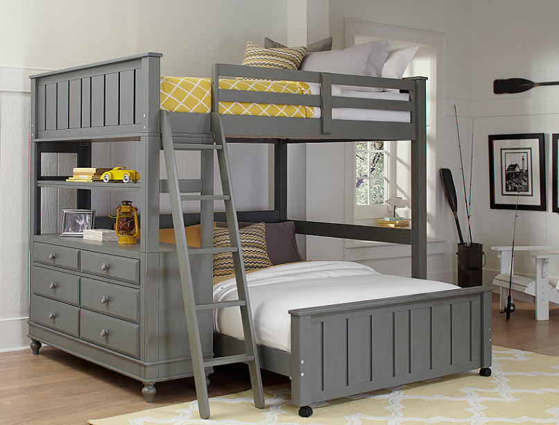 Incredible Grey Full Size Bed Boardwalk Gray Full Size Storage Loft Bed