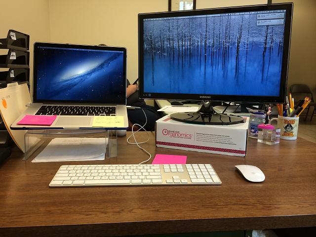 Incredible Laptop And Monitor Desk Setup Desk Set Up Need Advice And Options Iphone Ipad Ipod Forums At