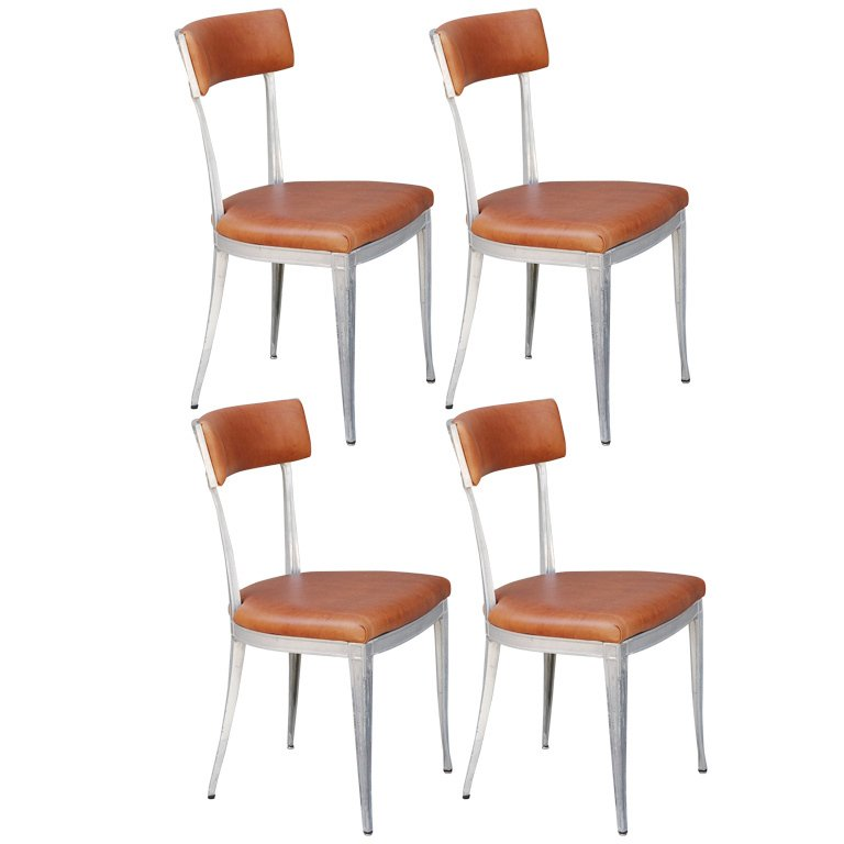 Incredible Leather Dining Chairs Set Of 4 Set Of 4 Neoclassical Aluminum And Brown Leather Dining Chairs For