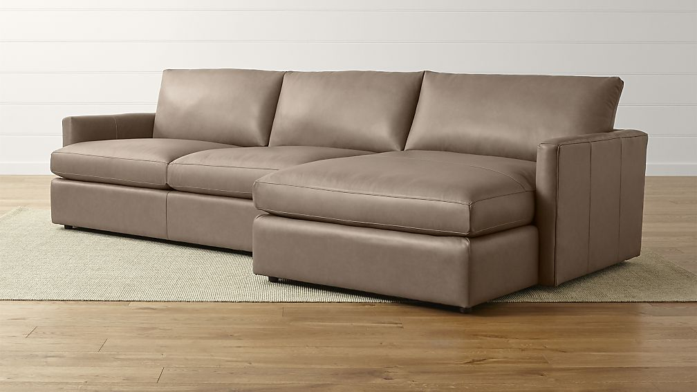 Incredible Leather Sofa With Chaise Lounge Lounge Ii Right Arm Chaise Sectional Sofa Crate And Barrel