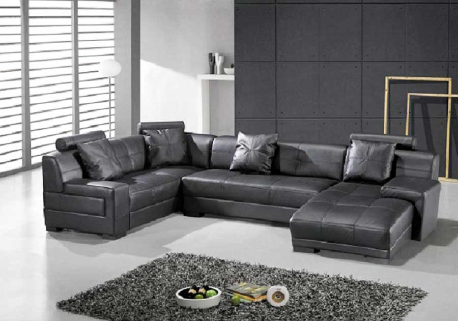 Incredible Modern Black Leather Couch Omega Modern Black Leather Sectional Sofa Sectionals