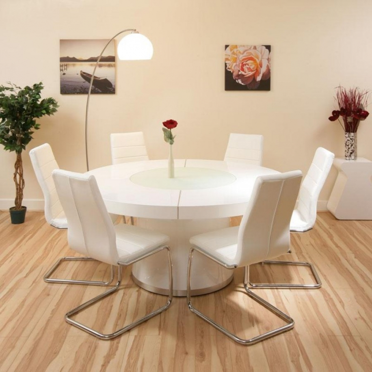Incredible Modern Round White Dining Table Modern Round Dining Table For 6 Regarding Modern Round Dining