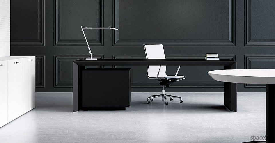 Incredible Office Black Desk Black Office Desk Suited In Every Office Designinyoudecor