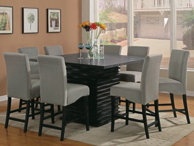 Incredible Square Dining Table For 8 Appealing Counter Height Square Dining Table For 8 98 About