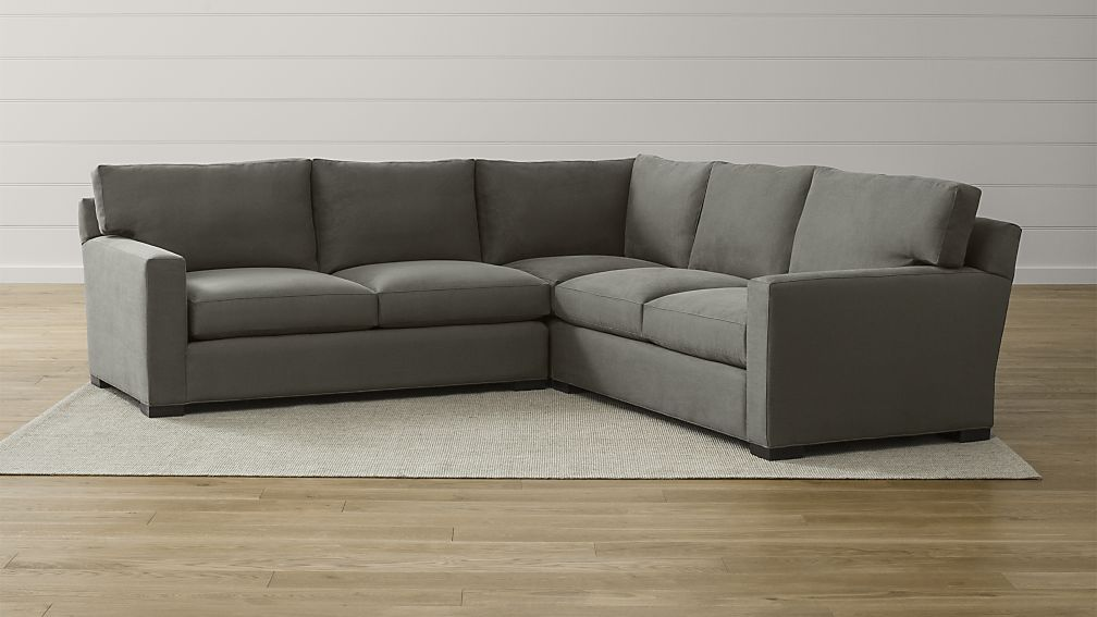 Incredible Three Piece Sectional Couch Axis Ii 3 Piece Grey Sectional Crate And Barrel